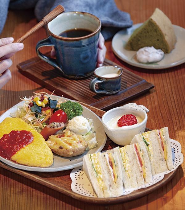 梢庵セット(1050円・税込)。「食の安全、安心、美味しい」が梢庵メニューのモットー。