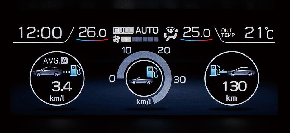 レヴォーグ 燃費画面